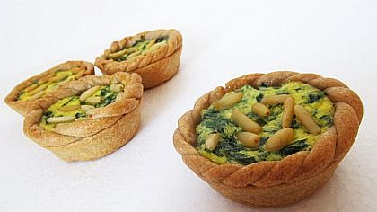 Celozrnné špenátové koláčky s ricottou
