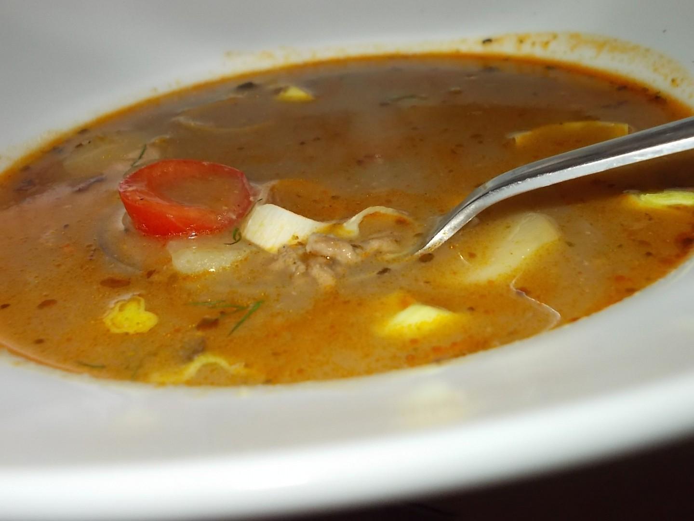 Gulášová polévka z mletého hovězího masa a hub
