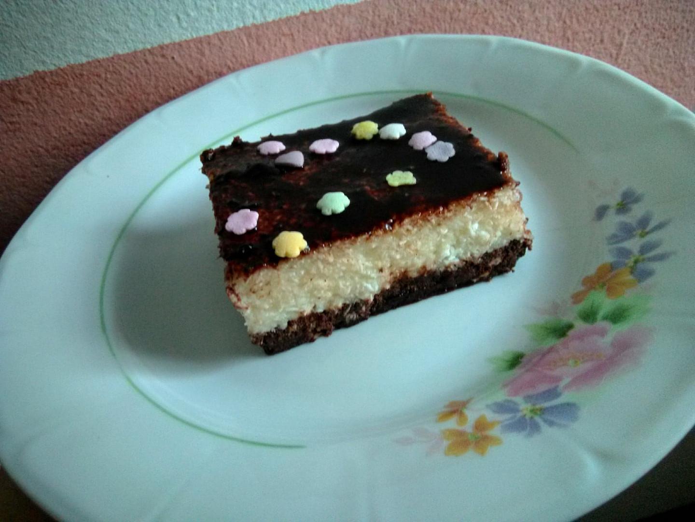 Kokosové nepečené řezy s čokoládou