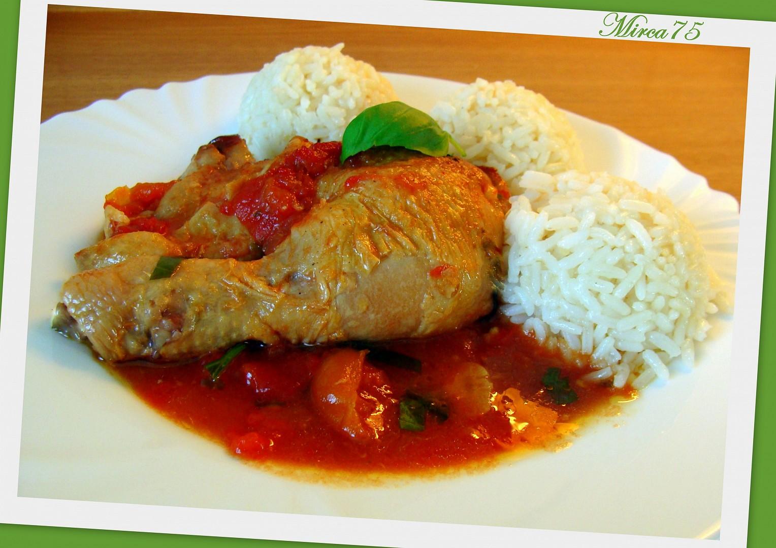Kuře na bazalce v rajčatovém lůžku