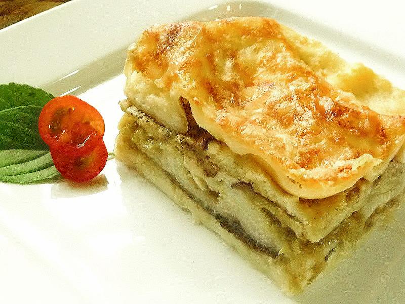 Lilkové lasagne s pórkovou salsou