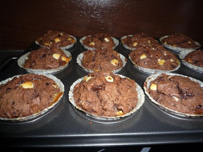 Nadýchané čokoládové muffiny
