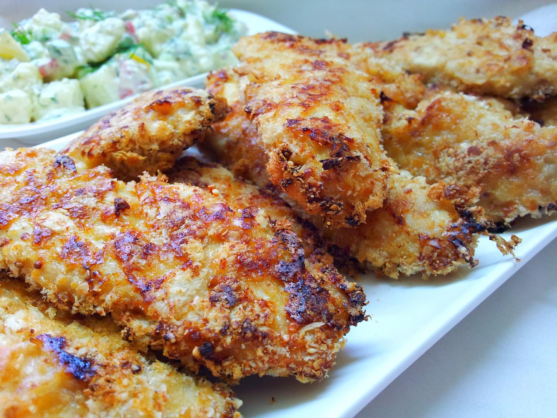 Pikantní kuřecí kousky ve smetanovo-parmazánové krustě