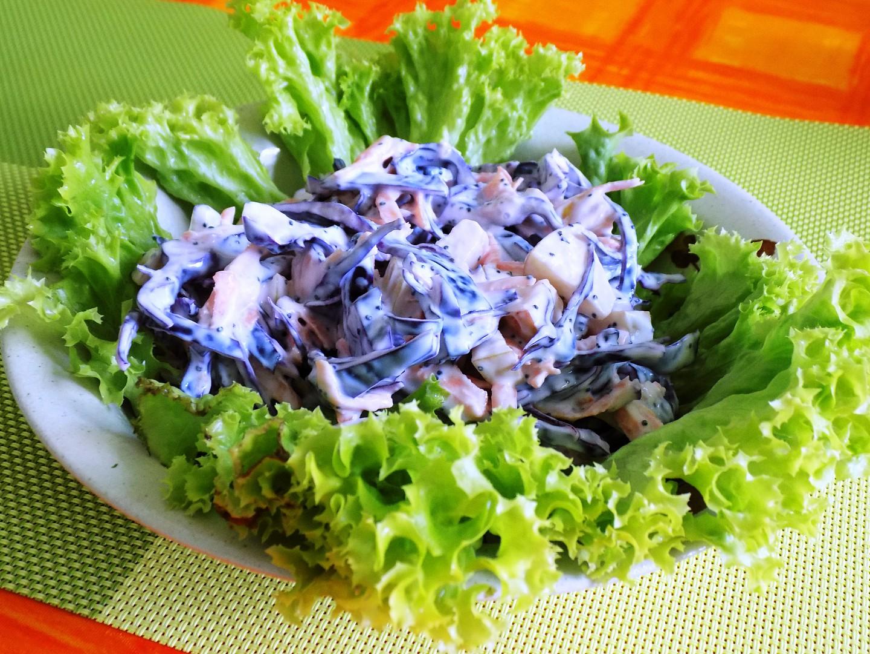 Salát z červeného zelí s mákem