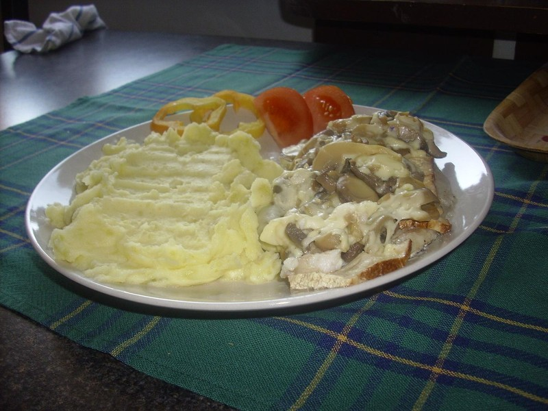 Zapečený pangasius s tofu a žampiony v alobalu