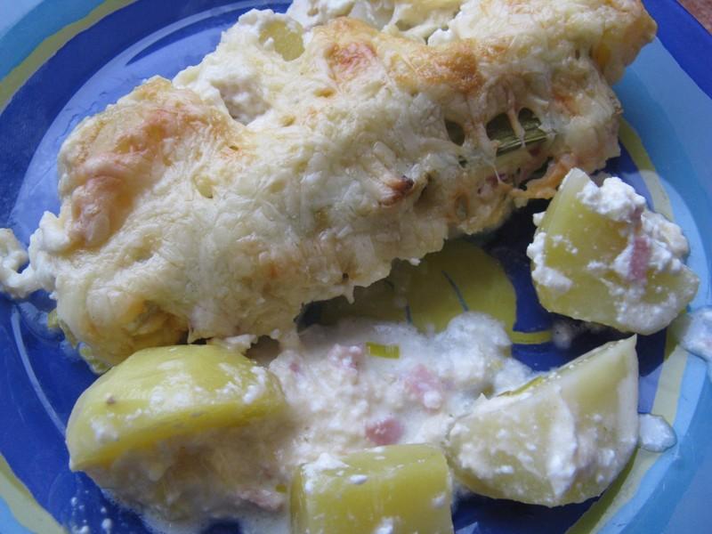 Zapečený pórek s brambory